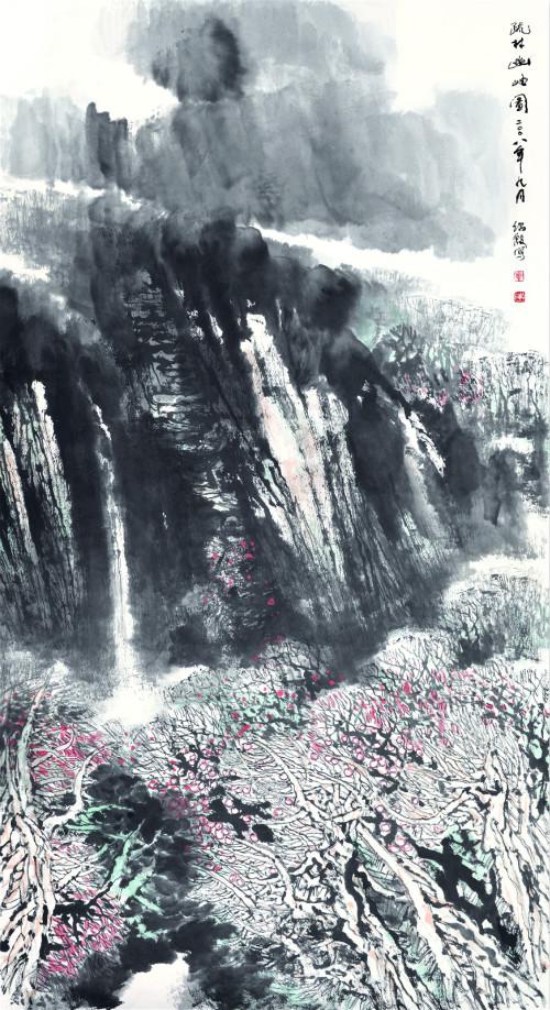 1 覃绍殷 疏林幽岫图 中国画 180cm×97 cm_meitu_13.jpg