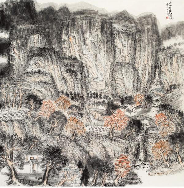 桂行创《逢人乐道故园秋》196x196cm-中国画.jpg