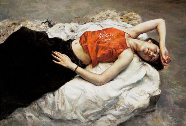 郭华《红肚兜》80x120cm-油画.jpg