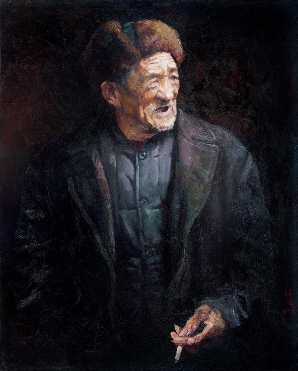 9、穿呢子大衣的老人100×80.3cm.亚麻布 油彩 2009年 - 副本  weixin.jpg